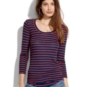 Madewell Striped Textured Long Sleeve Tee Top